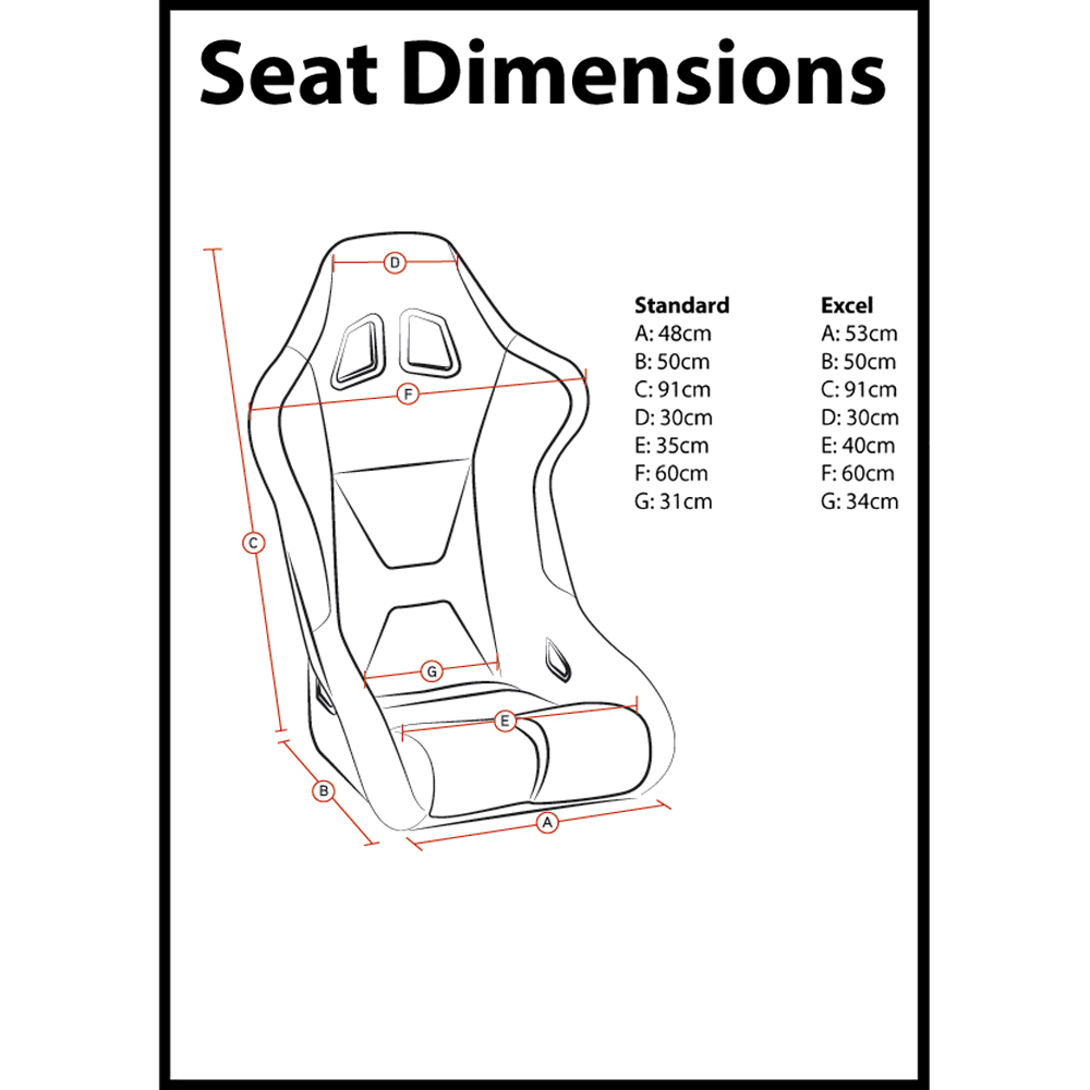 Corbeau Spring X Bucket Seat Dimensions