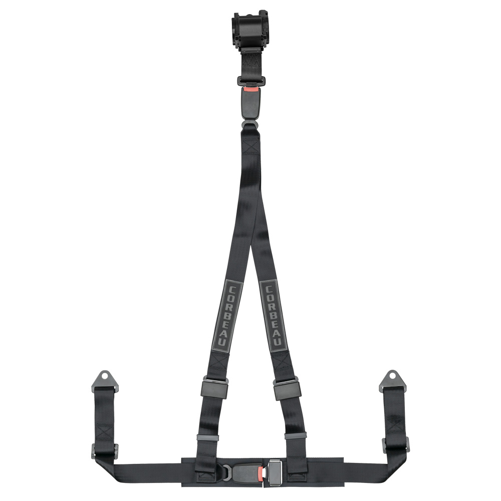 Corbeau 3 Point Harness in Black | Retractable Racing Harnesses