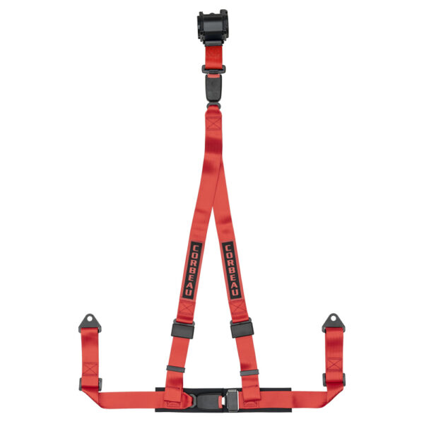 Corbeau 3 Point Harness in Red | Retractable Racing Harnesses