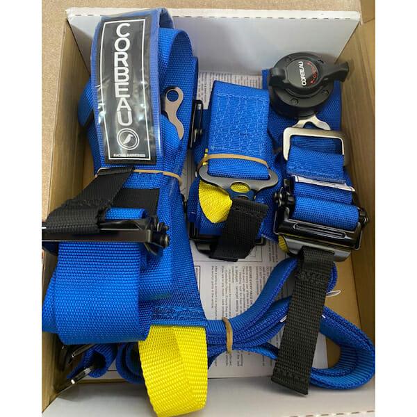 Box of Blue Corbeau Racing Harnesses